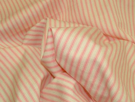 St Ives White/Pink 100% Cotton Woven Ticking Curtain / Upholstery Fabric